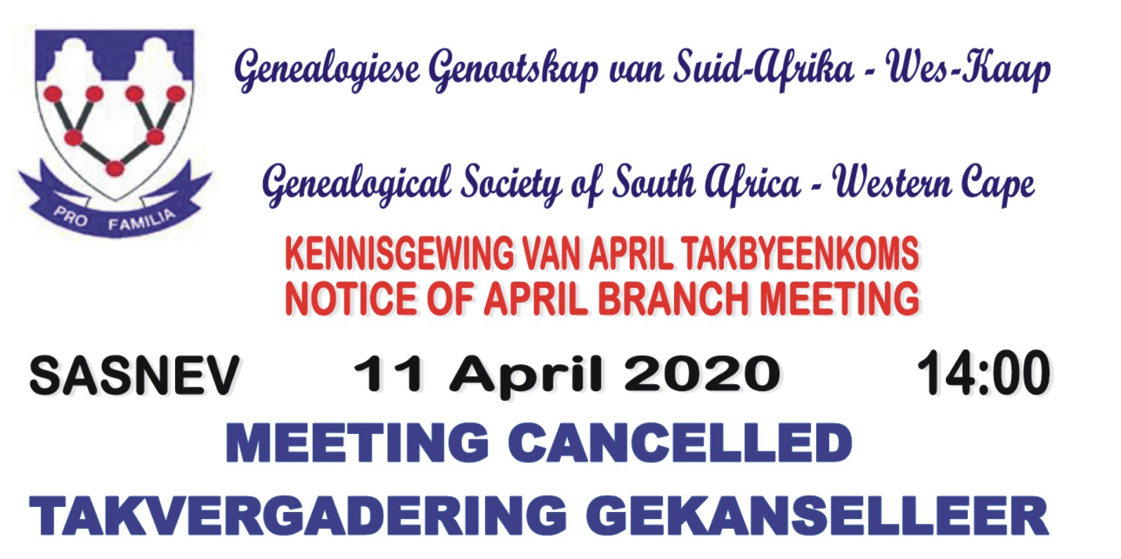 11 April 2020 Branch Meeting